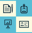 business icons set collection of contract vector image