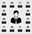 Business man in black suit icons set