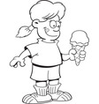 Cartoon girl holding a ice cream cone vector image vector image