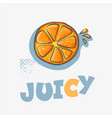 cartoon hand drawn slice of orange juice with vector image
