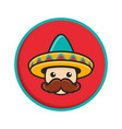 cartoon man face with sombrero vector image vector image