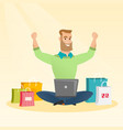 caucasian man using a laptop for online shopping vector image vector image