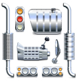Chromed Truck Parts Set 2 vector image vector image