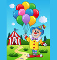 clown with balloons near tent vector image vector image
