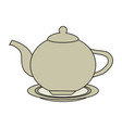 color image cartoon porcelain tea kettle for hot vector image vector image