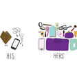 Comparing of His and Hers Stuff in bag vector image vector image