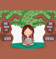 cute girl with tree library vector image
