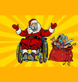 disabled santa claus is in a wheelchair christmas vector image vector image