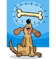 dog with dogbone cartoon vector image vector image