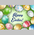 easter colorful eggs with a grass background vector image vector image