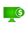 electronic money icon monitor icon dollar icon vector image vector image