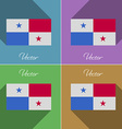 Flags Panama Set of colors flat design and long vector image