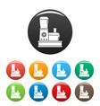 food processor icons set color vector image vector image