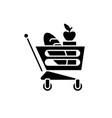 good food basket black icon sign on vector image