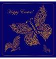 Greeting card with golden metallic butterflies vector image