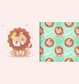 hand drawn happy cute lion with pattern set vector image vector image