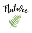 hand drawn inspirational label with fern vector image