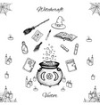 hand drawn witchcraft set with magic wand book vector image