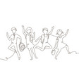 happy schoolchildren - one line design style vector image vector image