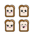 kawaii halved bread faces icon vector image vector image