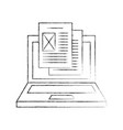laptop computer with documents vector image vector image