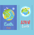 love earth day poster with planet in night and day vector image vector image