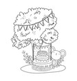 mouse with sweet cake in field vector image vector image