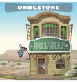 old two-story pharmacy in wild west vector image vector image