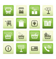 online shop icons over green background vector image