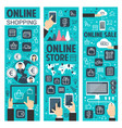 online shopping banners for internet retail vector image vector image