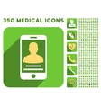 Patient Mobile Account Icon and Medical Longshadow vector image