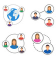 people network icons set people connection set vector image vector image