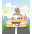 piglet eaten by car from the city vector image vector image