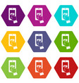 playing games on smartphone icon set color vector image vector image