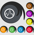pulse Icon sign Symbols on eight colored buttons vector image vector image