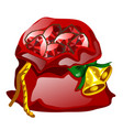 red velvet sack tied with a rope with golden vector image