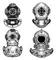 set of retro style diver helmets design elements vector image vector image