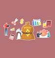 set stickers budget deficit tiny businessman vector image
