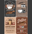 steaming coffe cups beans and berries donuts vector image vector image