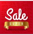 Super sale mega sale red banner with golden vector image