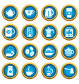 tea and coffee icons blue circle set vector image vector image