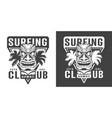 vintage hawaiian surfing club logotype vector image