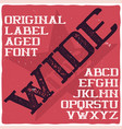 vintage label typeface named wide vector image vector image
