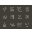 Web development flat white line icons vector image vector image