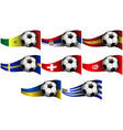 with soccer ball and flag of senegal serbia vector image