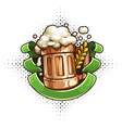 wooden beer mug with froth vector image vector image