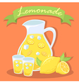 Fresh Lemonade Juice Pitcher with Gree vector image