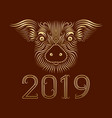 2019 new year of chinese horoscope greeting card vector image
