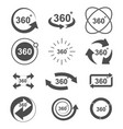 angle 360 degrees sign icon set design vector image vector image