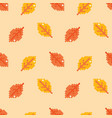 autumn pixel leaves seamless pattern background vector image vector image